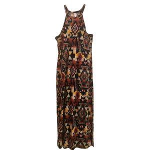 Exhilaration Aztec Print Maxi Dress - Size L